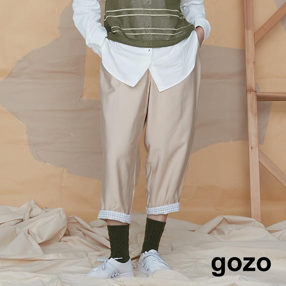 gozo-七分反折格紋老爺褲-淺卡其