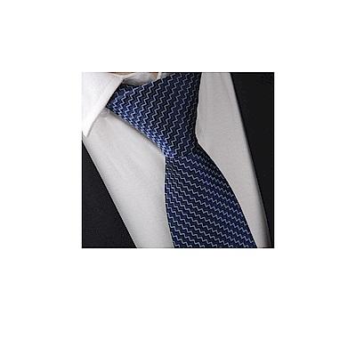 拉福   領帶8cm寬版領帶拉鍊領帶 (兒童幾何藍)