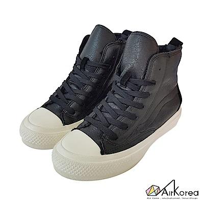 【AIRKOREA韓國空運】內鋪毛氣墊增高高筒拼接帆布鞋-黑-增高6cm