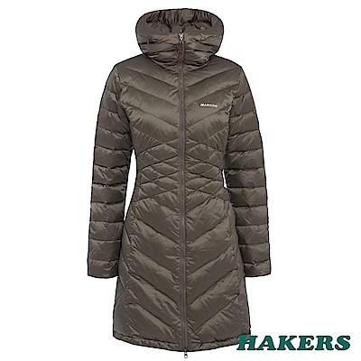 【HAKERS】女款 長版羽絨外套(棕卡/黑色可選)