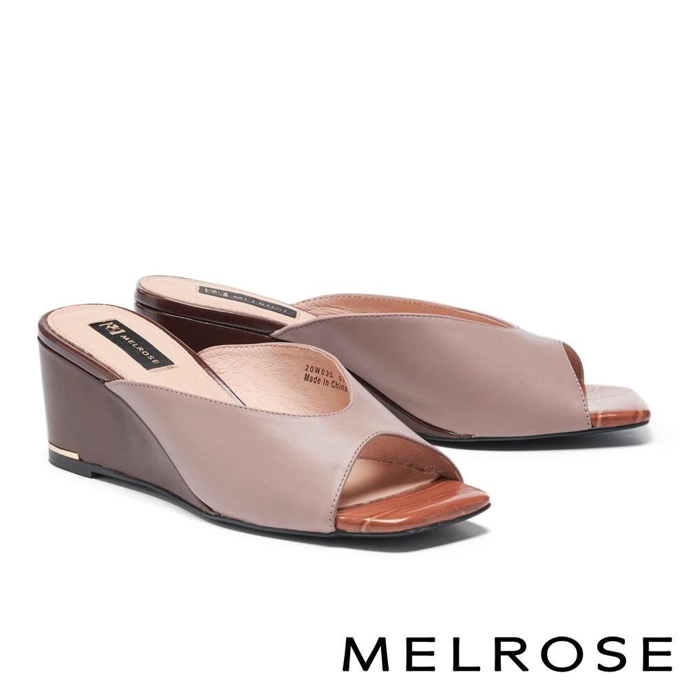 拖鞋 MELROSE 簡約率性撞色羊皮方頭楔型拖鞋-粉