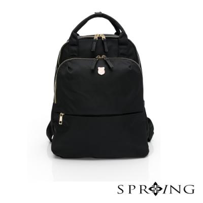 SPRING-未來質感系列2way尼龍後背包-經典黑