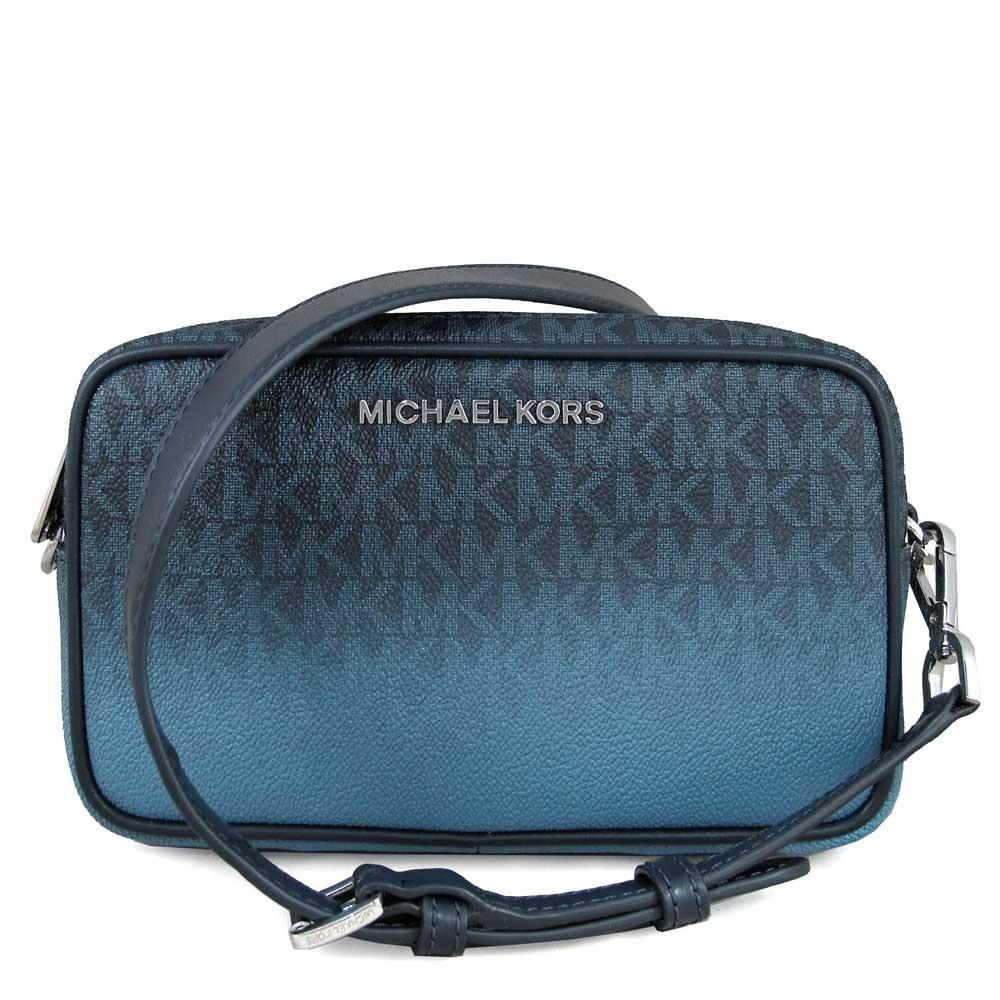 MICHAEL KORS Connie 銀字滿版LOGO皮滾邊寬帶雙層相機斜背包(法國藍)