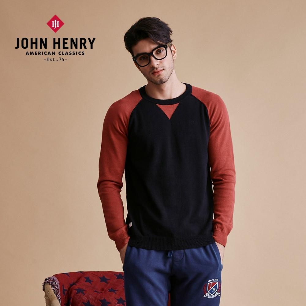 【JOHN HENRY】個性圓領拼接針織長袖T恤-二色選