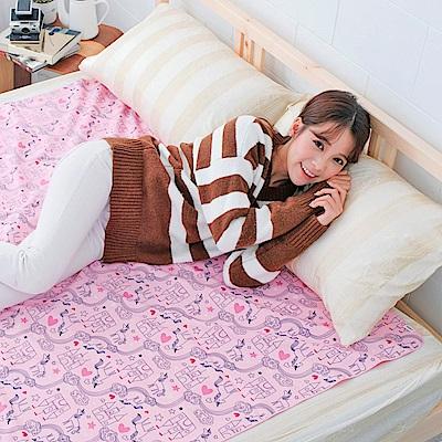 米夢家居-台灣製造-全方位超防水止滑保潔墊/生理墊/尿布墊(150x186cm)-粉紅城堡
