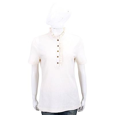 TORY BURCH Deneuve Polo 木耳邊飾短袖休閒衫(象牙白)