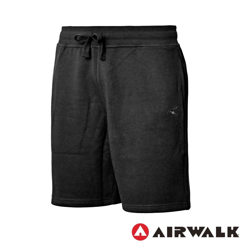 【AIRWALK】運動棉質短褲-男-黑