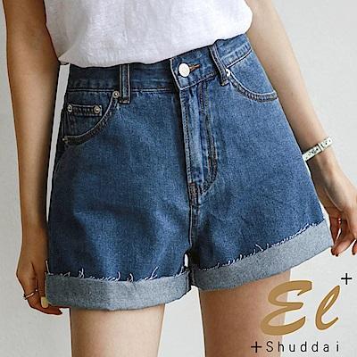 正韓 經典純彩抽鬚牛仔短褲-(藍色)El Shuddai