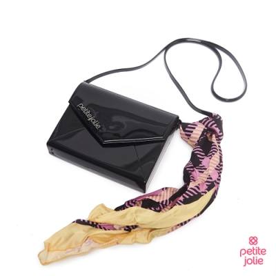 Petite Jolie--絲巾裝飾果凍信封包-黑色