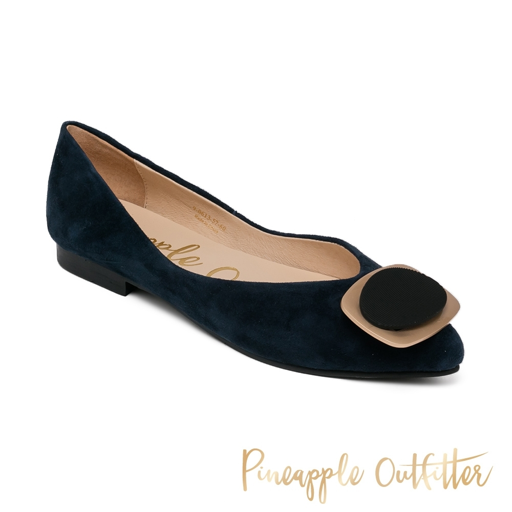 Pineapple Outfitter - FARICA 嚴選羊絨方釦尖頭平底女鞋-絨深藍