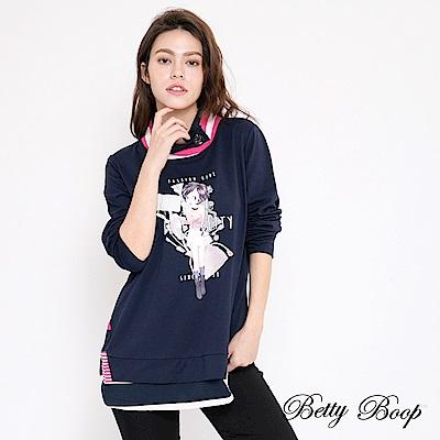 Betty Boop貝蒂 膠印滾邊釦領柔棉上衣(共兩色)
