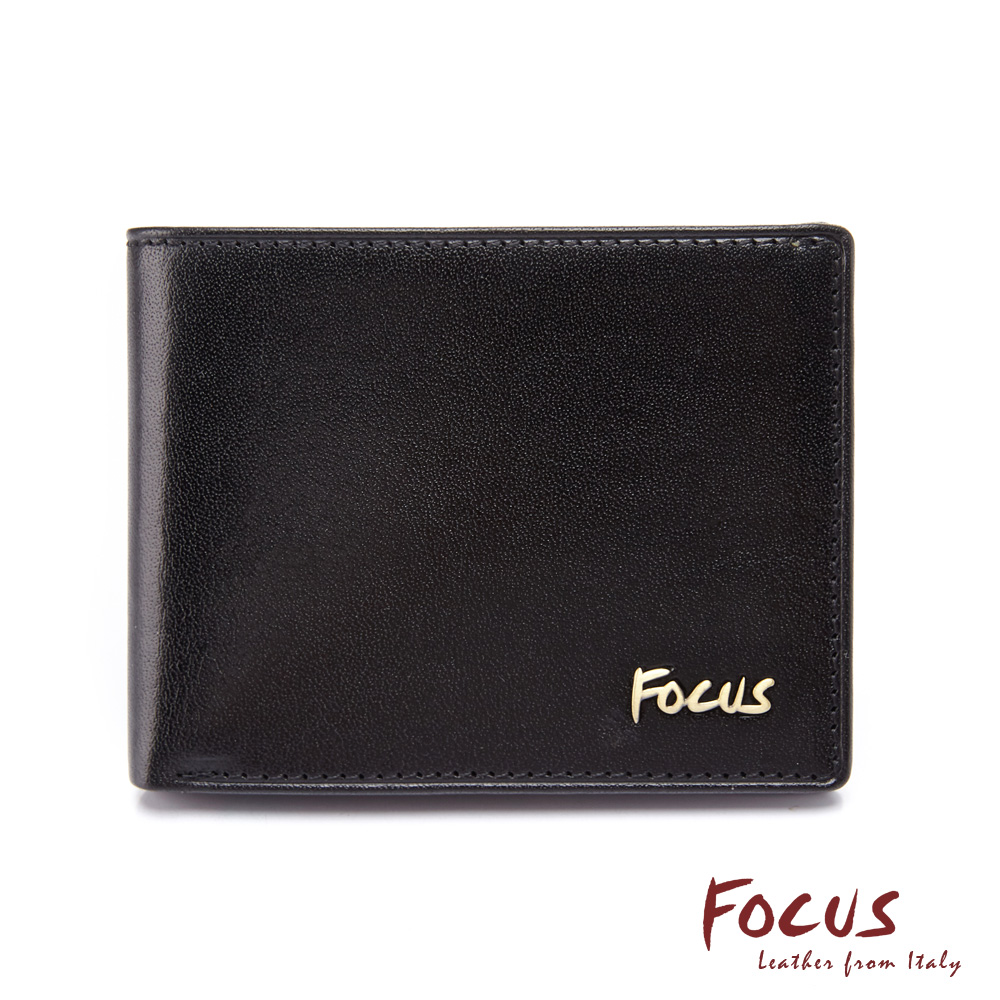 FOCUS原皮時尚黑簡約小巧 6卡男短夾(FGB2202)