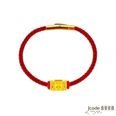 J code真愛密碼金飾 大甲媽 媽祖硬金鋼編織手鍊
