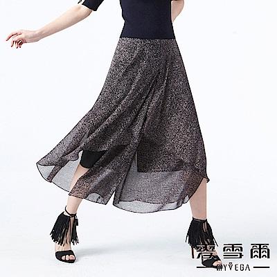 【麥雪爾】粉黑花紋波浪裙襬雪紡寬褲