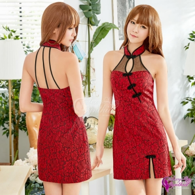 Sexy Cynthia 角色扮演 古典玫瑰紅削肩美背旗袍角色扮演服- 紅F