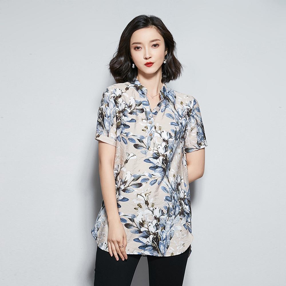 韓版寬鬆印花棉麻襯衫M-4XL(共四色)-REKO