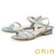 ORIN 細版牛皮踝繞帶低跟 女 涼鞋 淺藍 product thumbnail 1