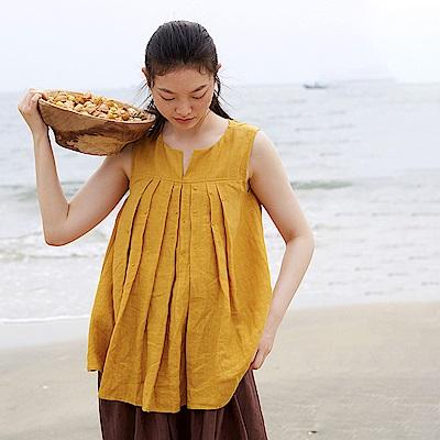 旅途原品_淺笑_原創設計手工荳蔻繡亞麻背心-薑黃