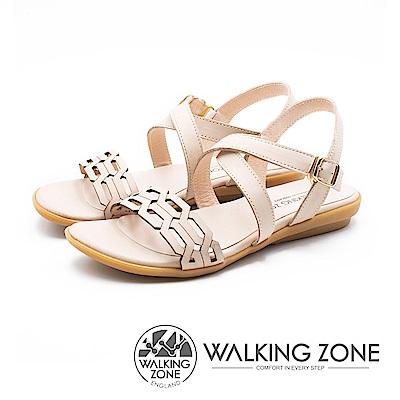WALKING ZONE 質感鍊條壓紋交叉釦帶涼鞋 女鞋 - 米(另有深藍)