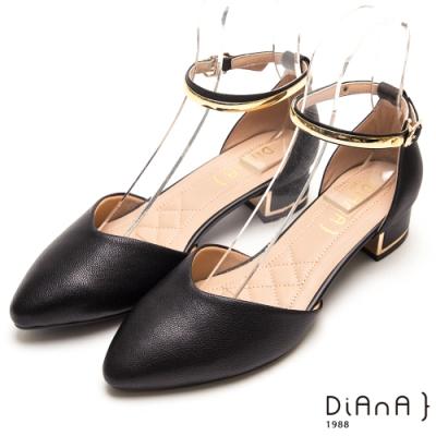 DIANA 金環釦帶真羊皮尖頭瑪莉珍跟鞋-黑