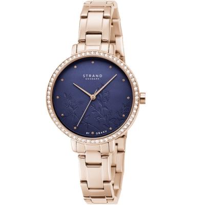 STRAND 丹麥海之星璀璨花語系列腕錶 / 玫瑰金藍-35mm(S712LXVLSV)