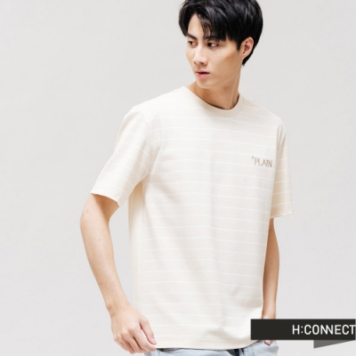 H:CONNECT 韓國品牌 男裝 -條紋刺繡文字T-Shirt-卡其