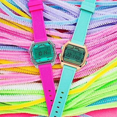 I AM 玩色新革命電子錶-金殼綠色盤_小(IAM-006)37x40mm