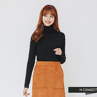 H:CONNECT 韓國品牌 女裝-修身高領針織上衣-黑