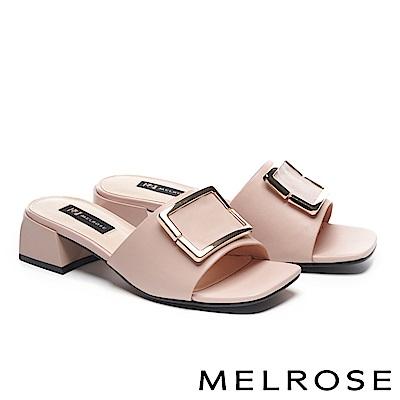 拖鞋 MELROSE 知性時尚金屬方釦羊皮粗高跟拖鞋-粉