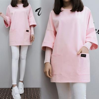 【韓國K.W.】明星潮牌假二件式寬鬆上衣