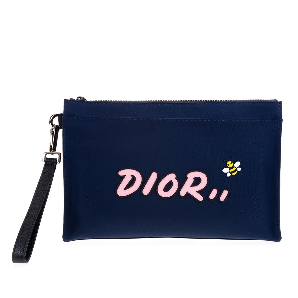 DIOR X KAWS 限量淡粉色DIOR LOGO蜜蜂尼龍手拿包 (藍色)