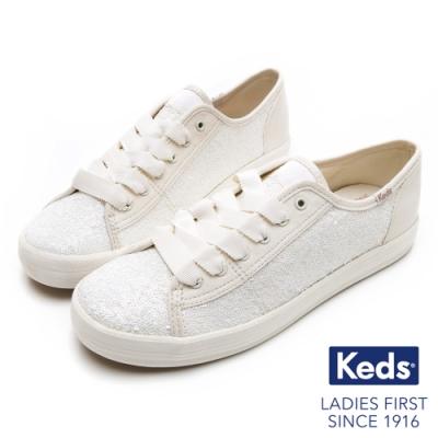 Keds KICKSTART 華麗亮片綁帶休閒鞋-奶油白