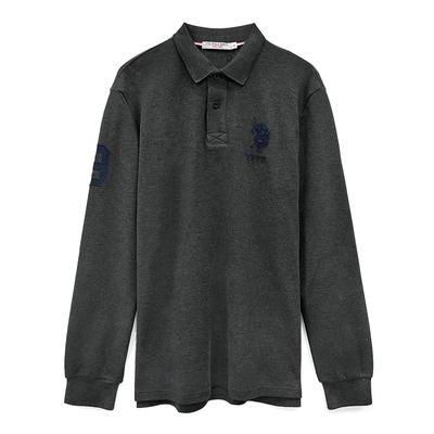 U.S. POLO ASSN. 大馬純棉長袖POLO衫-深灰色