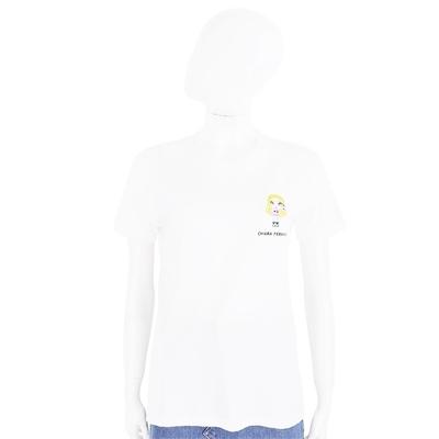 Chiara Ferragni @cfmascotte IG女孩刺繡米色短袖棉質TEE T恤