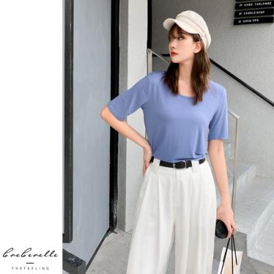 2F韓衣-韓系素色舒適短袖造型上衣-3色(S-2XL)