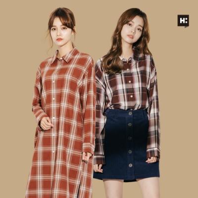 [時時樂限定] H:CONNECT- 女裝經典格紋襯衫-兩款