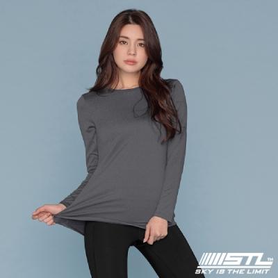 STL yoga ESSENCE LS 韓國瑜珈 運動機能 本質長版 合身蓋臀長袖上衣 混深灰