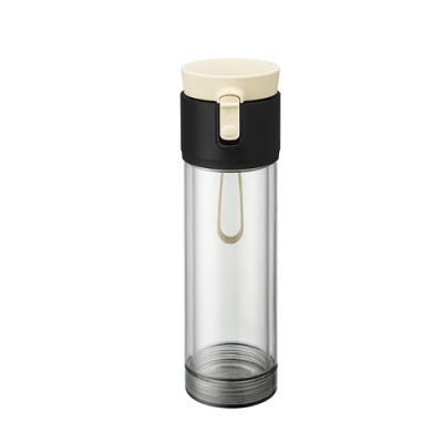 【PO:Selected】丹麥雙層泡茶防摔隨手杯(外杯570ml,玻璃內杯375ml) (內層玻璃外層PP) (白)
