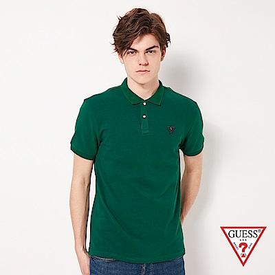 GUESS-男裝-刺繡問號LOGO短袖POLO衫-綠 原價1790