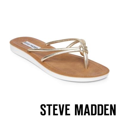 STEVE MADDEN-ALLOW 簡約亮彩扭結T字平底拖鞋-金色