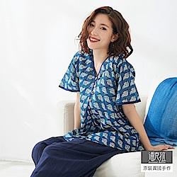潘克拉 交疊圖紋印花薄款衫- 紫色/藍色