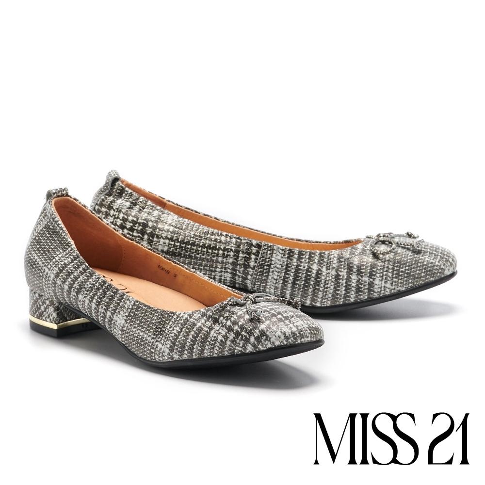 低跟鞋 MISS 21 舒適優雅蝴蝶結設計全真皮方頭低跟鞋-格紋