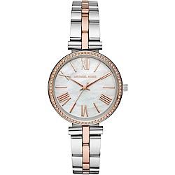 MICHAEL KORS 閃耀晶鑽時尚手錶(MK3969)-珍珠貝X半金/33mm