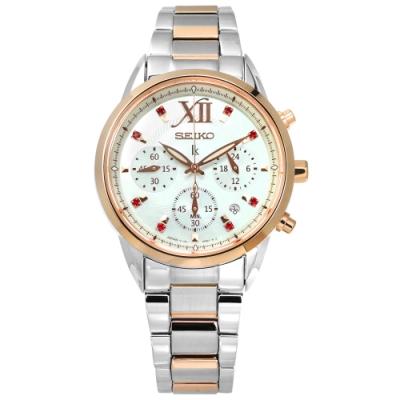 SEIKO 精工 LUKIA 太陽能 施華洛世奇 不鏽鋼手錶-銀白x鍍玫瑰金/36mm