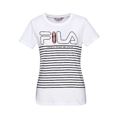 FILA 女款圓領短袖T恤-白色 5TET-1707-WT