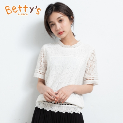 betty's貝蒂思 滿版蕾絲繡花拼接上衣(共二色)