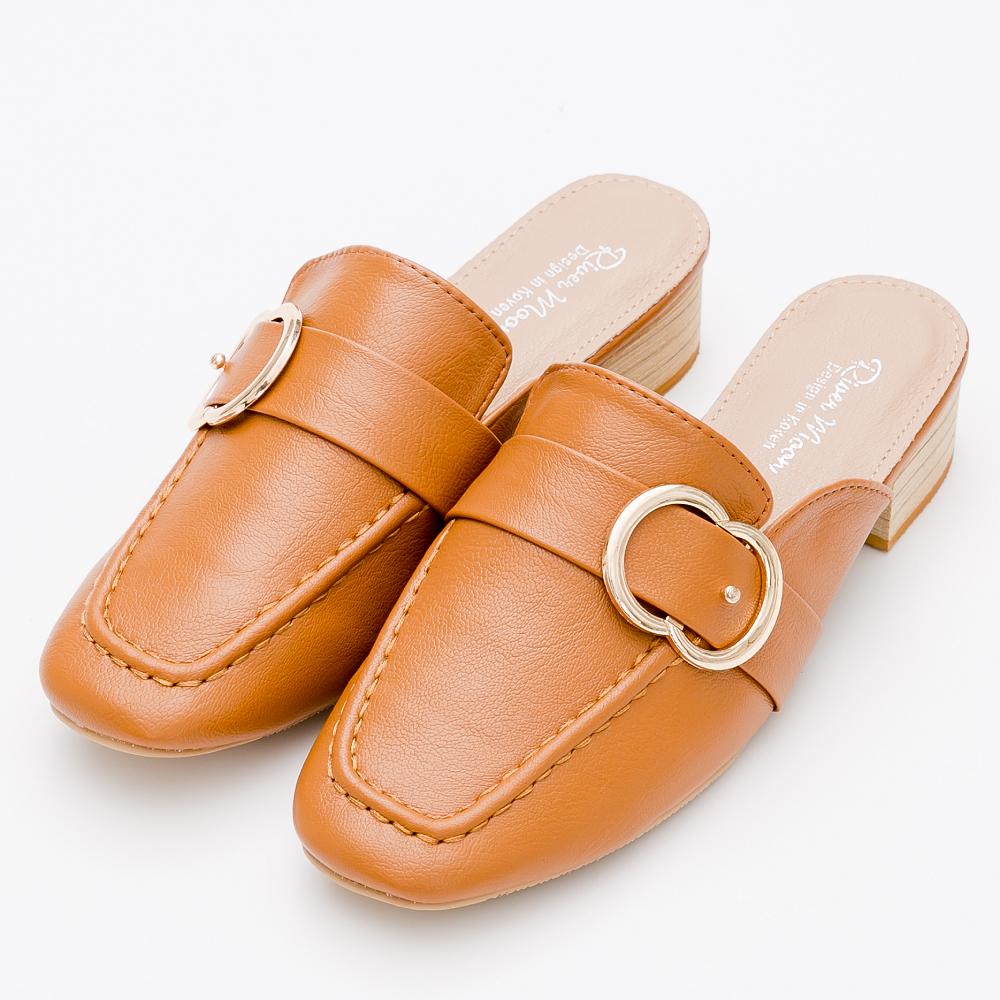 River&Moon中大尺碼-歐美金屬扣環紳士穆勒鞋-棕
