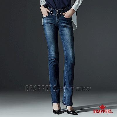 BRAPPERS 女款 新美尻系列-中腰彈性五線譜鑲鑽小喇叭褲-藍