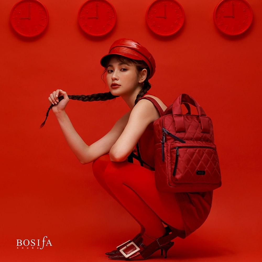 【BOSIfA】輕巧菱格紋後背包(微醺紅181001RD)(暢貨出清)