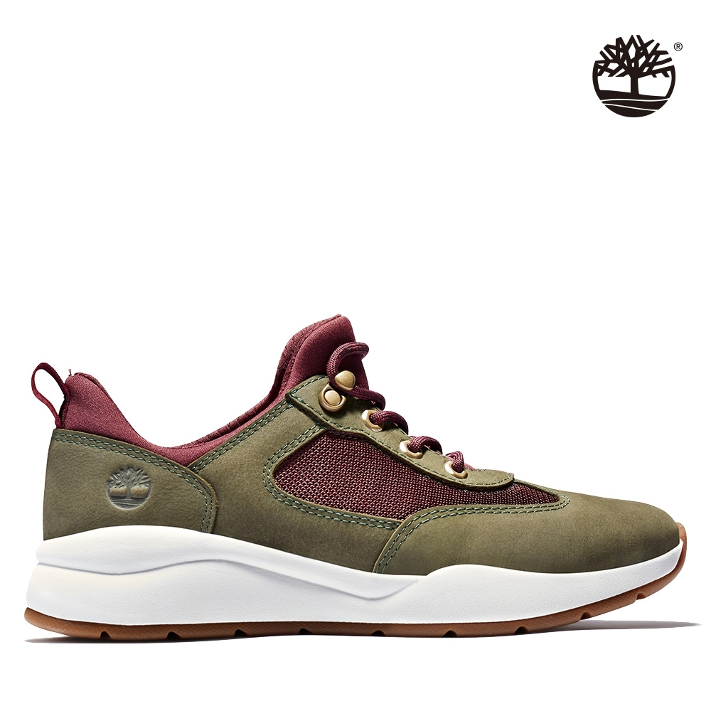 Timberland 女款軍綠色磨砂革織網拼接運動鞋 A2CMN
